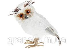 Новогодний декор, декоративная фигура Белая Сова, 24см (4шт в упаковке)