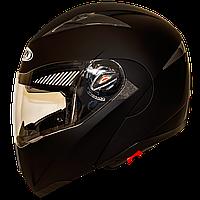 Мотошлем FXW HF-118 matte black шлем трансформер, Flip-Up модуляр с солнцезащитными очками, чёрный матовый