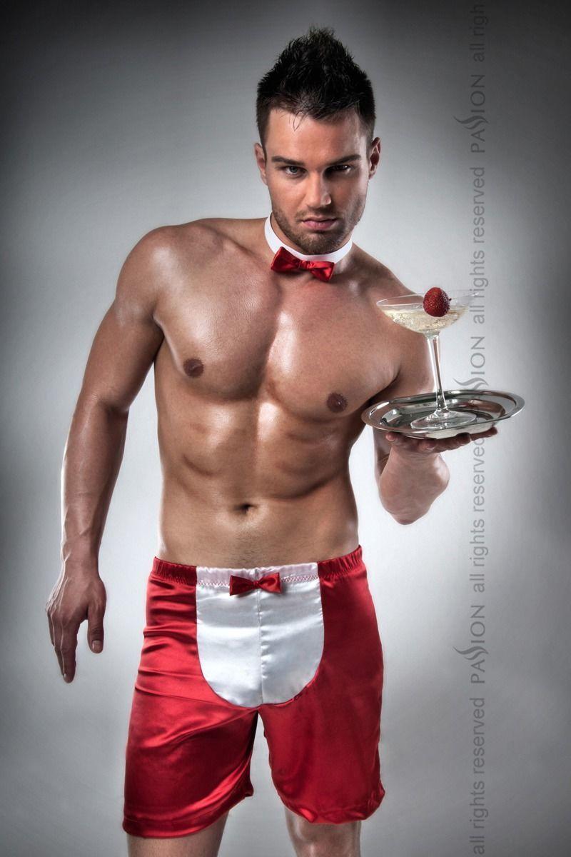 Мужской эротический костюм официанта Passion 019 SHORT red L/XL, шорты и бабочка