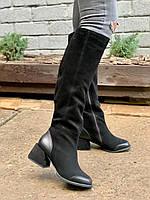 Жіночі замшеві чоботи євро зима чорний