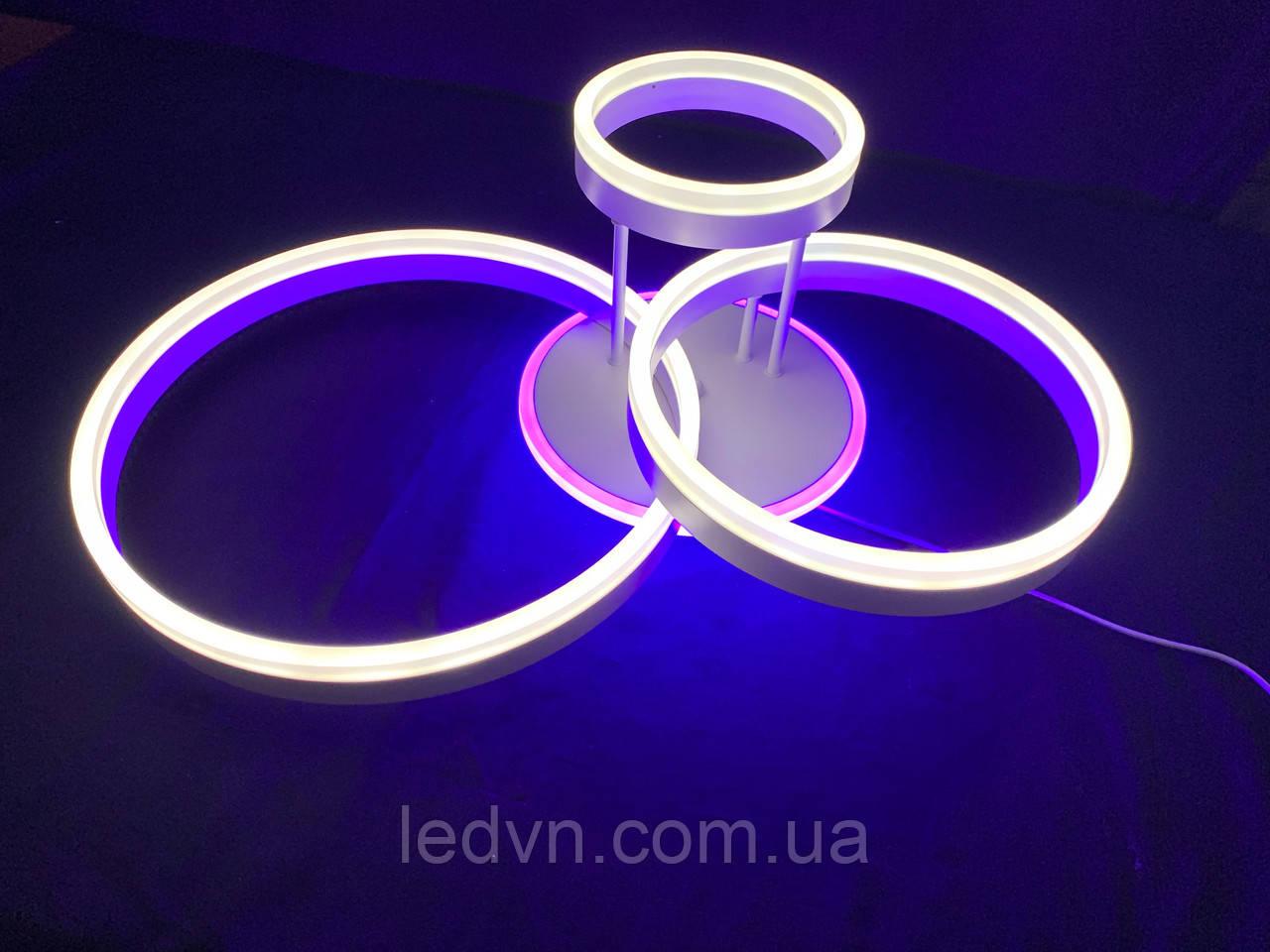 Потолочная светодиодная люстра на три кольца  белая