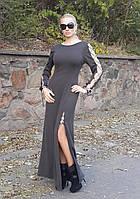 Женское теплое длинное платье с завязками Размер S-M, M-L VV 0032