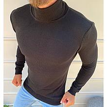 Гольф мужской однотонный черный теплый мягкий трикотажный, мужские водолазки