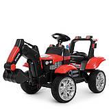 Детский электромобиль Трактор с подвижным ковшом и подсветкой Bambi M 4263EBLR-3 красный, фото 3