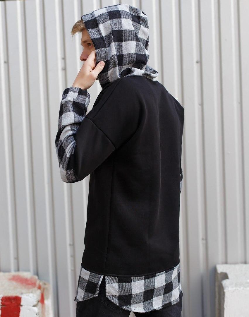 Мужское кофта с капюшоном теплая с начесом черная в клетку Турция. Живое фото