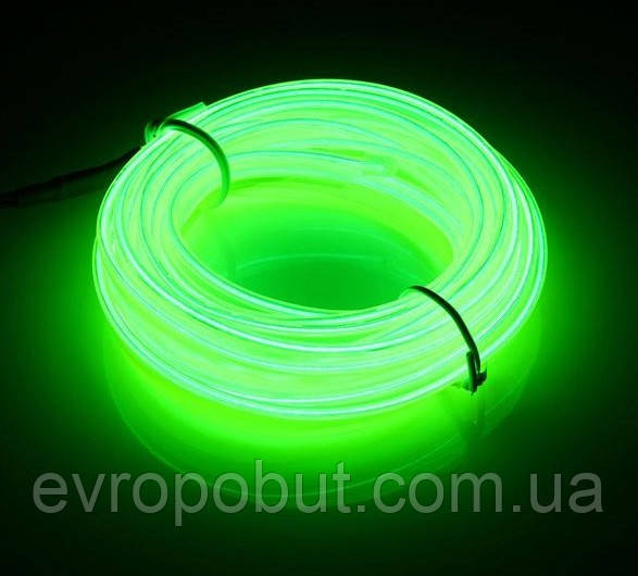 Гибкий светодиодный неон Зеленый Neon Glow Light Green - 3 метра ленты на батарейках 2 AA