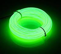 Гибкий светодиодный неон Зеленый Neon Glow Light Green - 3 метра ленты на батарейках 2 AA, фото 1