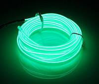 Гибкий светодиодный неон Флуоресцентный зеленый Neon Glow Light Fluorescent - 3 метра ленты на батарейках 2 AA, фото 1