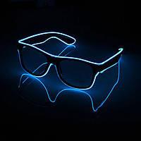 Очки светодиодные  прозрачные El Neon ray blue неоновые, фото 1
