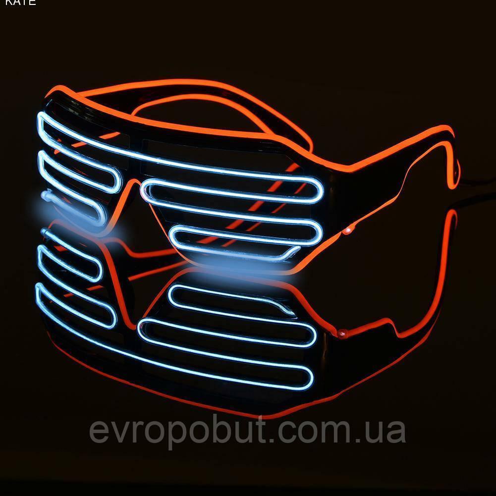 Очки светодиодные El Neon spiral red ice blue неоновые