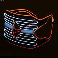 Очки светодиодные El Neon spiral red ice blue неоновые, фото 1