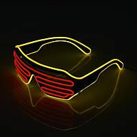 Очки светодиодные El Neon spiral red yellow неоновые, фото 1