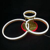 Потолочная светодиодная люстра на три кольца золото 90 вт, фото 1