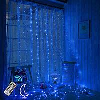 Светодиодная гирлянда LTL штора curtain капля росы 3*3 метра 300 led c пультом синяя Blue