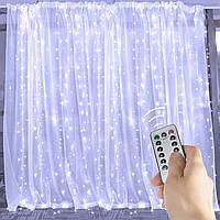 Светодиодная гирлянда LTL штора curtain капля росы 3*3 метра 300 led c пультом белая White, фото 1
