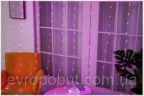 Светодиодная гирлянда LTL штора curtain капля росы 3*3 метра 300 led c пультом фиолетовая Purple
