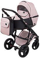 Детская универсальная коляска 2 в 1 Bair Mirello Plus кожа 100% MP-02 розовый перламутр - черный