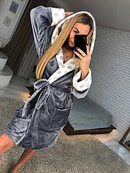 Женский теплый плюшевый домашний халат