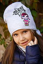 Комплект шапка и шарф весенняя для девочки NIKOLA Польша куколка LOL весенний осенний демисезонный