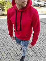 Чоловічий теплий худі з капюшоном червоний, фото 1