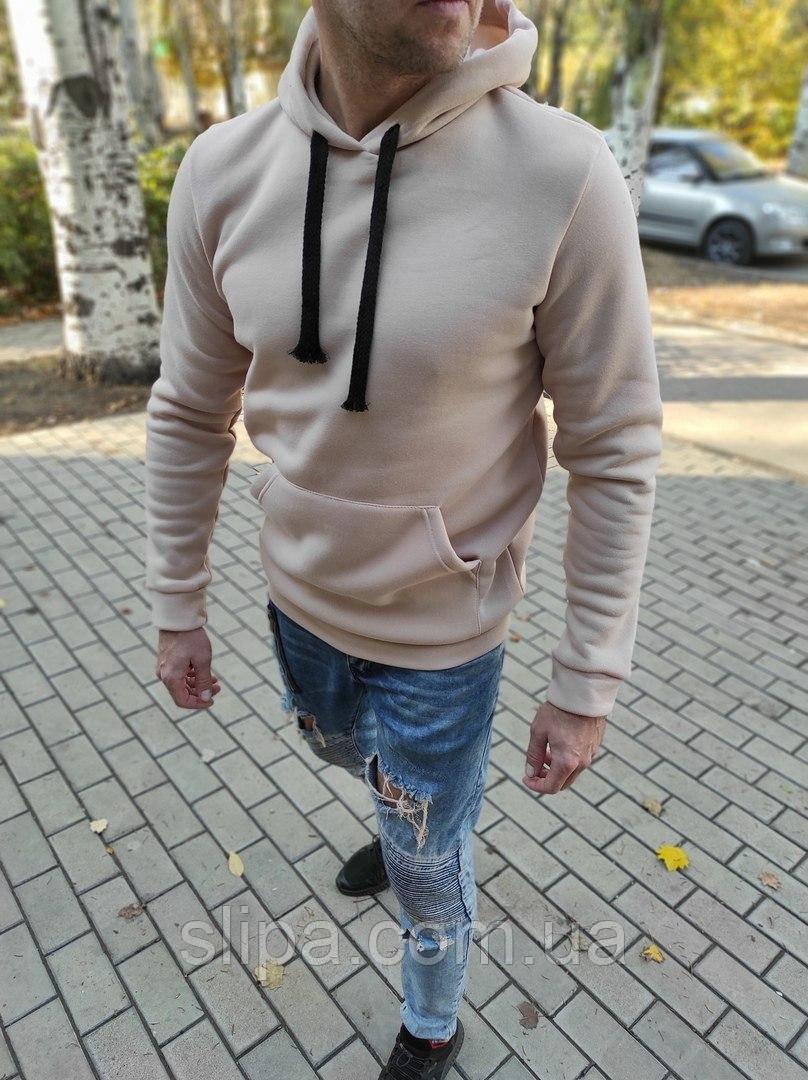 Чоловічий теплий худі з капюшоном бежевий