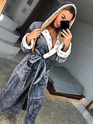 Женский длинный махровый халат серого цвета с капюшоном хит продаж 2021