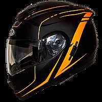 Мотошлем HF-119 matte black-orange шлем трансформер, Flip-Up с солнцезащитными очками, матовый чёрный с оранж.