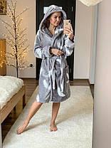 Женский теплый плюшевый халат с капюшоном, фото 3