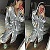 Женский теплый плюшевый халат с капюшоном, фото 4