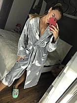 Женский теплый плюшевый халат с капюшоном, фото 2