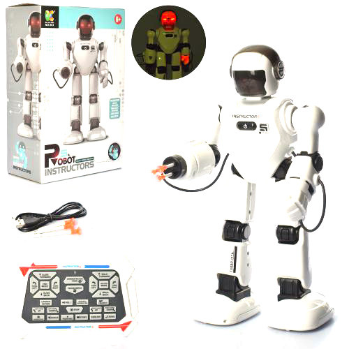 Интерактивный детский робот на радиоуправлении 803 стреляет присосками и говорит на английском языке