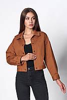 Женская легкая куртка -жакет укороченной длины кэмел 42-44, 46-48
