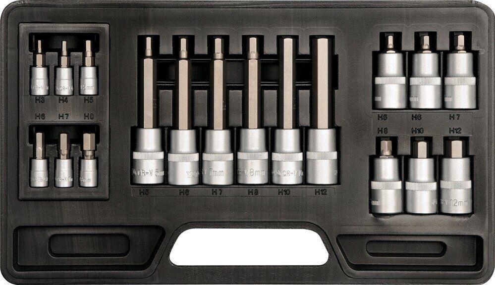 Набор торцевых головок с вставками HEX 3-12мм YATO YT-7752