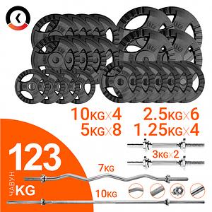 Набор 123 кг для силовых тренировок: Грифы, гантели, чугунные диски (комплект 4)