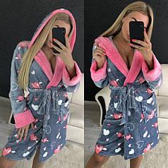 Жіночий теплий плюшевий халат для будинку