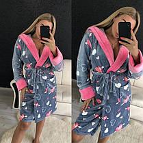 Женский теплый плюшевый халат для дома, фото 3