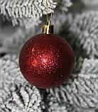 Куля новорічна темно-червона мікс D 3см (30мм), фото 5