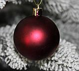 Куля новорічна темно-червона мікс D 3см (30мм), фото 6