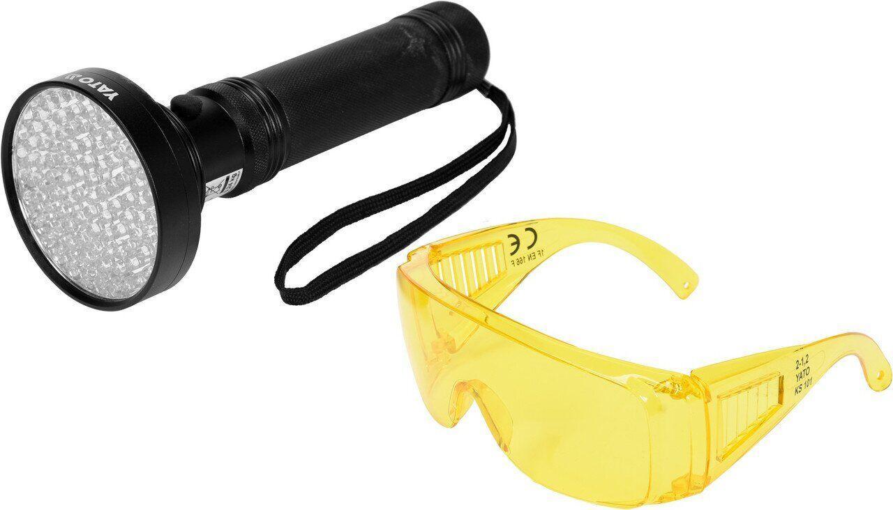 Светодиодный ультрафиолетовый фонарик + комплект очков YATO YT-08582