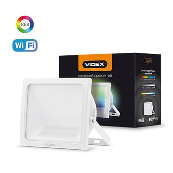LED Смарт прожектор VIDEX 10W RGB Wi-fi 3000-6500К Белый