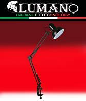 Настольная лампа на струбцине 60W E27 LU-074-1800 черная TM LUMANO, фото 1