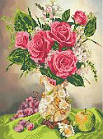 """Схема для вышивки бисером на атласе """"Розы в вазе"""""""