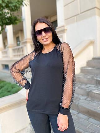 Блуза рукав сетка горох  04д4191, фото 2