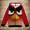 Худи теплый с 3D принтом Red Angry Birds. Детские и взрослые размеры