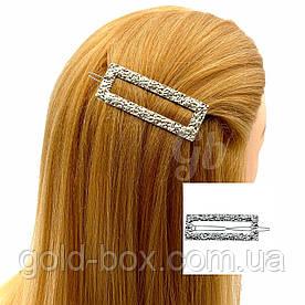 Заколка для волос прямоугольная серебряная
