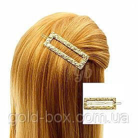 Заколка для волос прямоугольная золотая