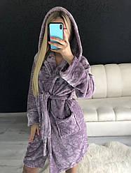 Женский теплый халат с капюшоном в цветок