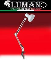 Настольная лампа на струбцине 60W E27 LU-074-1800 белая TM LUMANO, фото 1