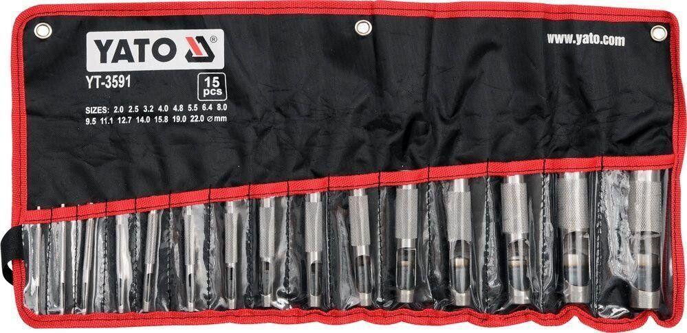 Набір пробійників для шкіри 2-22 мм 15 предметів YATO YT-3591