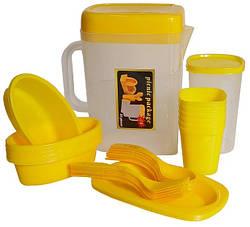 Набір для пікніка на 6 персон MHZ R30214, пластиковий, 35 предметів в кейсі, жовтий